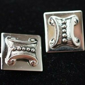 Whiting & Davis Earrings  Clip-On Silver Square 1""